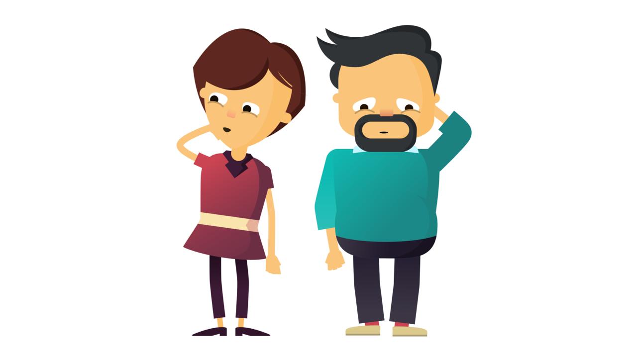 Ett animerat par där mannen ser trött ut på grund av obstruktiv sömnapné