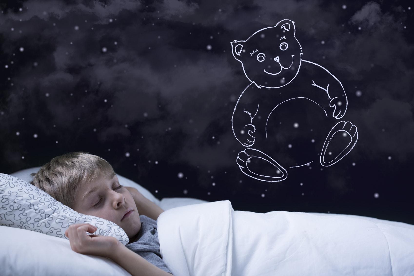 En liten pojke ligger nedbäddad i sin säng och drömmer om en nallebjörn